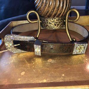NWOT Nocona Rhinestone Bling Leather Belt medium🌟